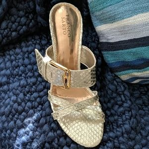 New w tags, FRANCO SARTO GOLD SANDALS
